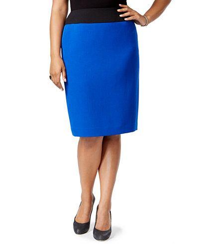 c6dcfba747d704 Kasper Plus Size Colorblocked Pencil skirt | Work Wardrobe - Skirts ...