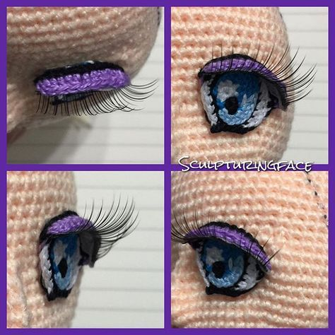 Amigurumi embroidered eye with fake eyelashes - picture only.
