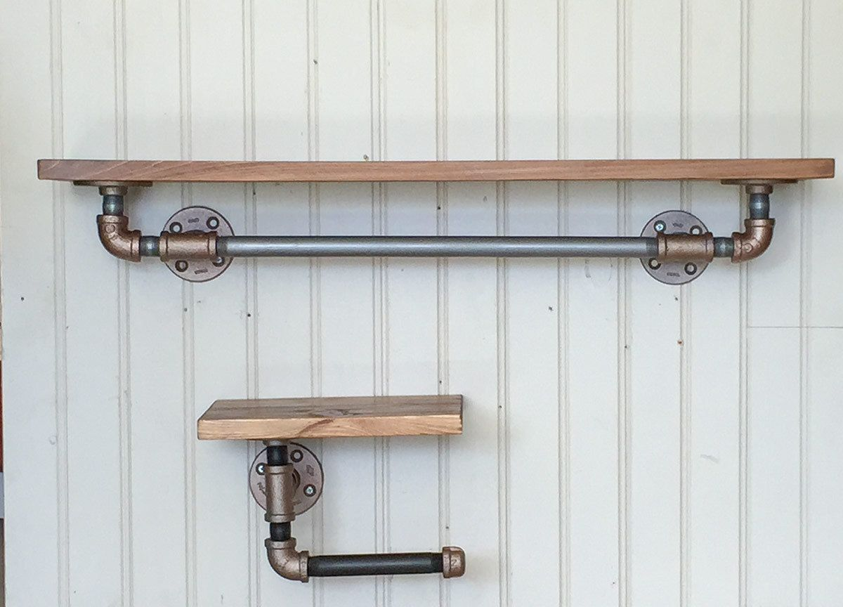 Industrial bathroom fixtures - Industrial Style Towel Bar And Toilet Paper Holder With Black Iron Pipe And Hardwood Shelf Bathroom Fixtures