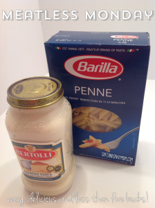One way to save money on groceries - MEATLESS MONDAY.  Here is an easy meatless pasta recipe!