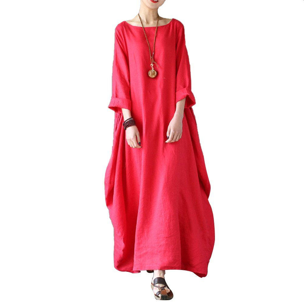 Celmia Womens 3 4 Sleeve Round Neck Solid Loose Long Maxi Dress Cotton Gown With Side Pockets Red Xl Click Long Dress Fashion Womens Maxi Dresses Maxi Dress [ 1000 x 1000 Pixel ]