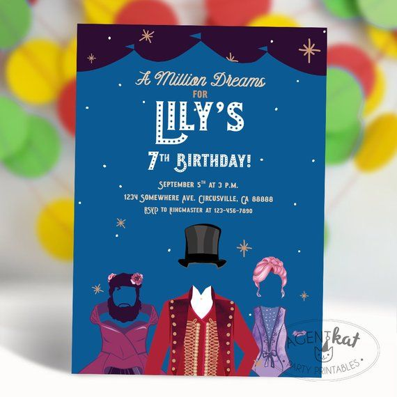 circus stars birthday party invitation ringmaster trapeze bearded