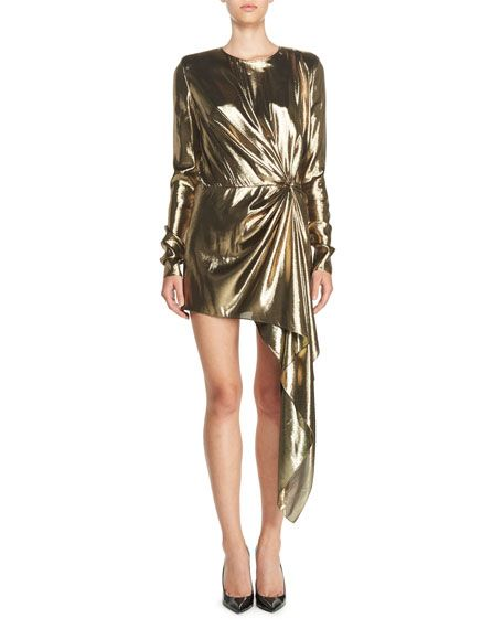ffd39f4f1a Long-Sleeve Lamé Mini Dress Gold in 2019 | closet 3 | Dresses ...