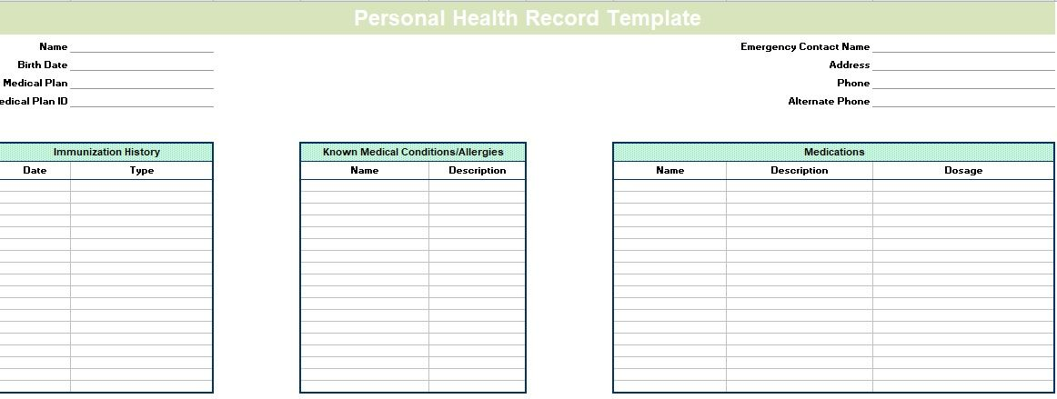 personal health record template report templates pinterest