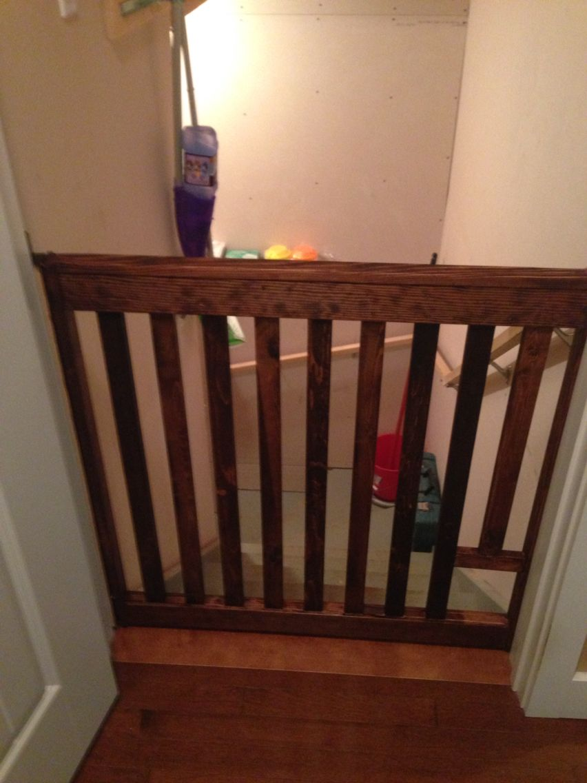 Custom Baby Gate With Cat Door I Finished Over The Holidays Diy Baby Gate Pet Gate Baby Gates