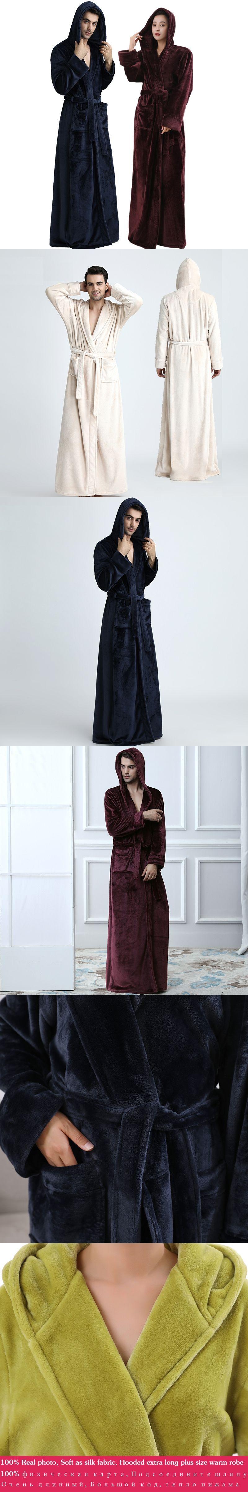 Men Women Hooded Plus Size Extra Long Warm Bathrobe Winter ...