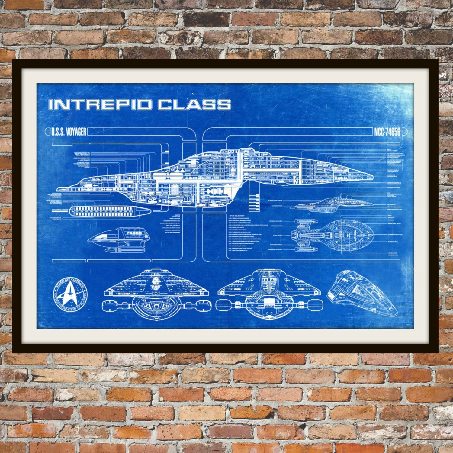 This beautiful print artwork is of the intrepid class uss voyager star trek voyager blueprint art of intrepid uss voyager class technical drawings engineering drawings patent blue print art item 0100 malvernweather Images