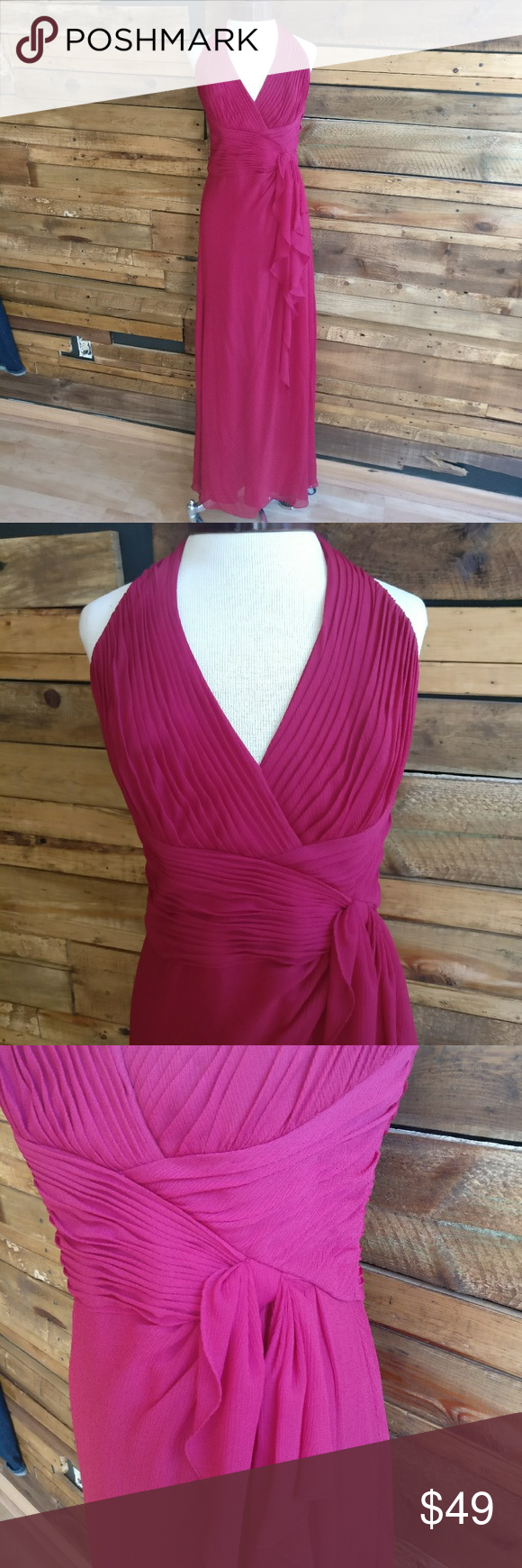 David\'s Bridal Soft Crinkle Chiffon Halter Dress