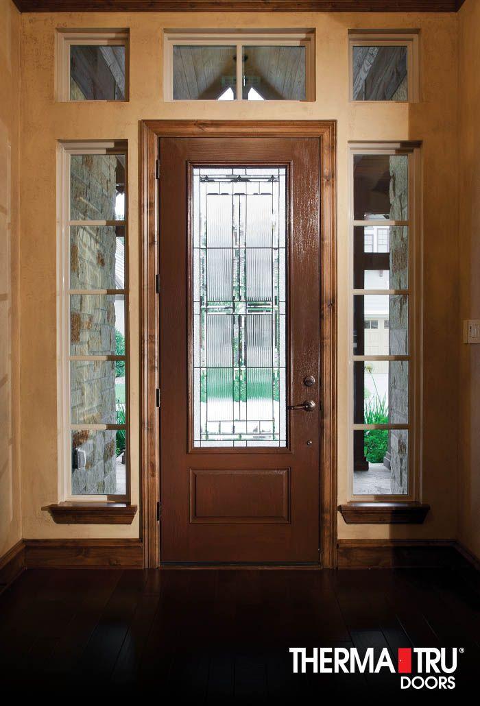 Full Lite Woodgrain Stained Fiberglass Door With Decorative Glass By Therma Tru Exterior Doors Glass Decor Fiberglass Entry Doors