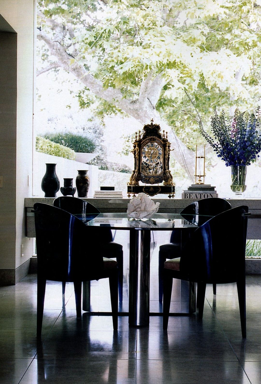 I LOVE THE MIX OF THE LOUIS XIV GILT BRONZE CLOCK WITH HAMMOND KROLL CHAIRS  FROM