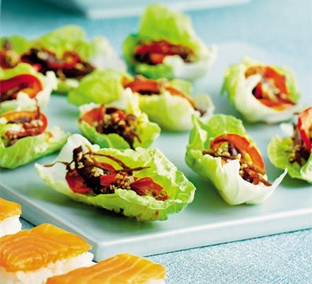 Sesame beef wraps recipe vegetables beef wraps and wraps for Beef canape ideas