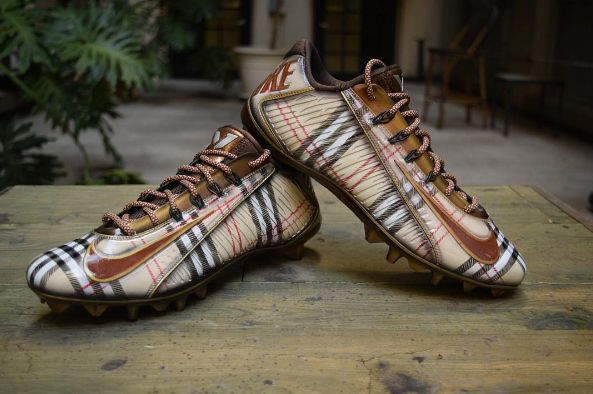 1146176e910 Check Out Oddel Beckham s Burberry-Inspired Cleats Made For His Game In  London
