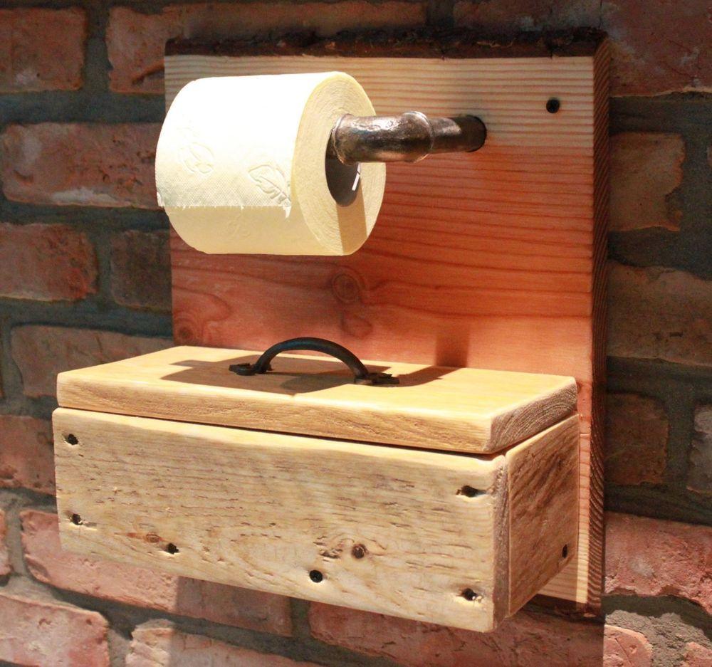 details zu toilettenpapierhalter klopapierhalter rollenhalter wc wand holz landhaus shabby. Black Bedroom Furniture Sets. Home Design Ideas