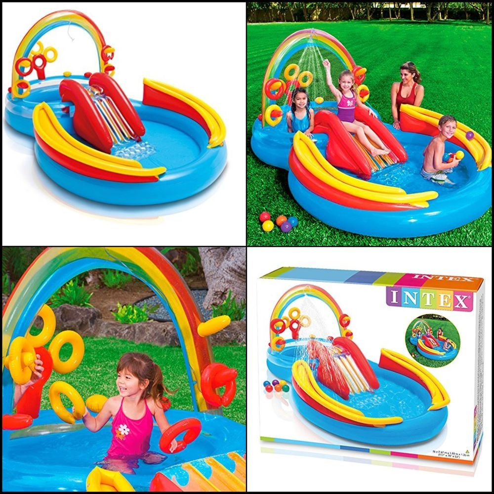Swimming Pool Inflatable Play Center Rainbow Ring Water Play For Kids Summer Intex Piscine Piscina Gommoni