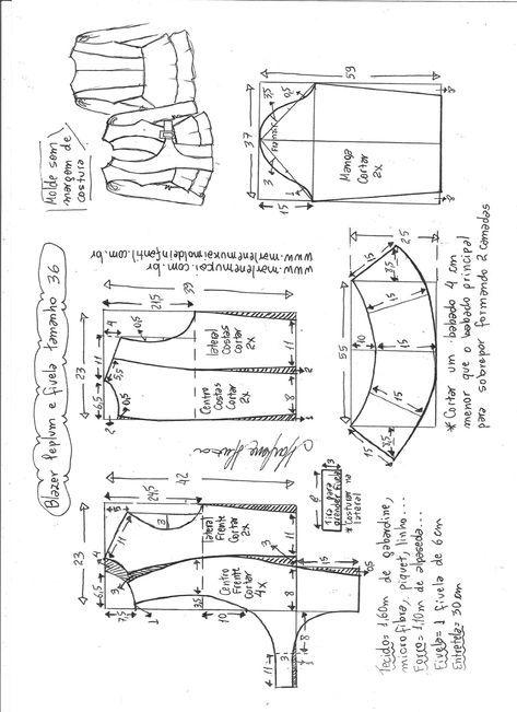 Blazer Peplum com fivela | Pinterest | Molde, Sweter y Costura