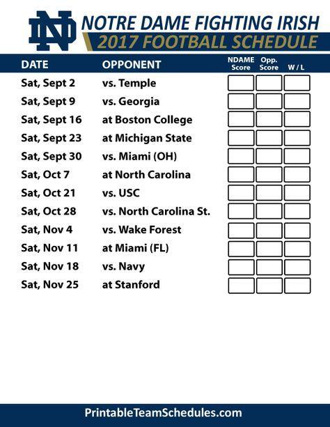2017 Notre Dame Fighting Irish Football Schedules Kansas State Wildcats Football Tennessee Football Football