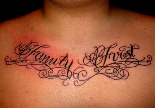 Script Tattoo Etched On The Chest In A Cool Cursive Font Has Got