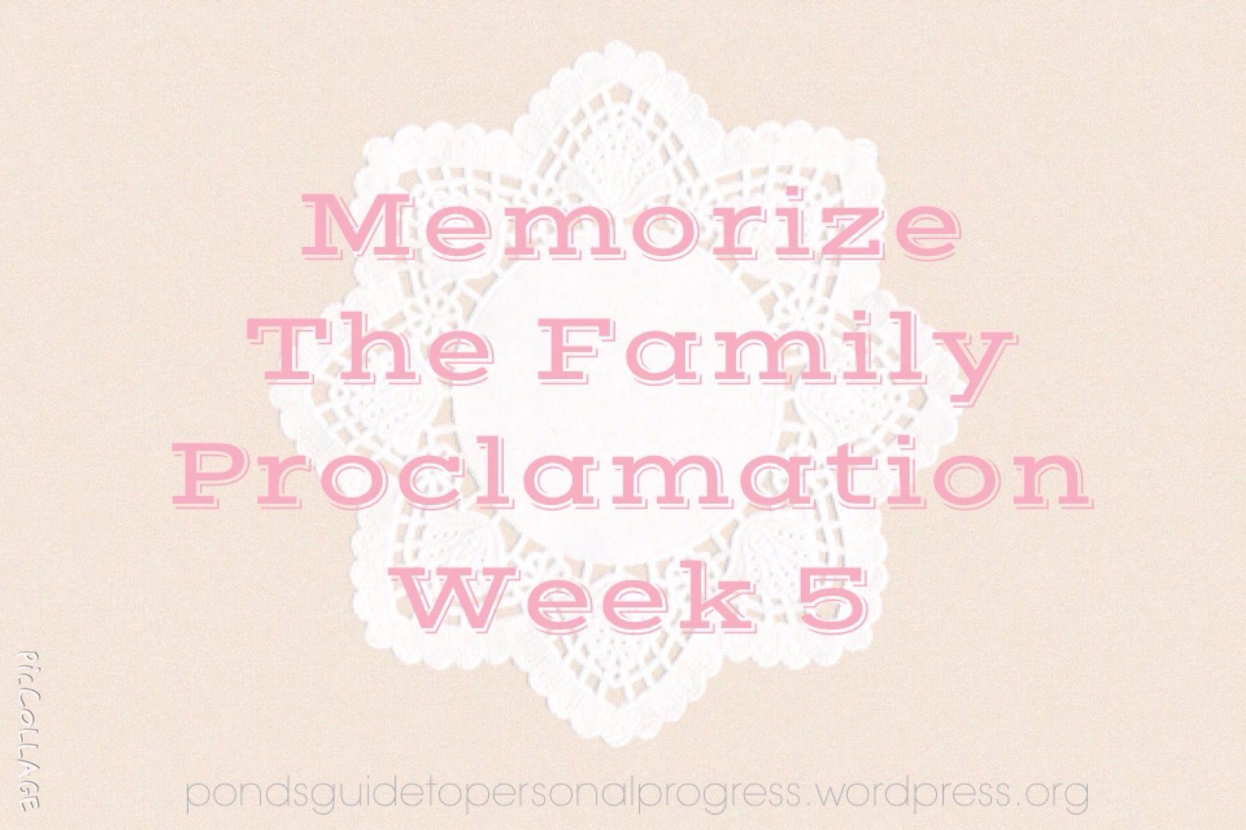 Memorise The Family Proclamation Week 5
