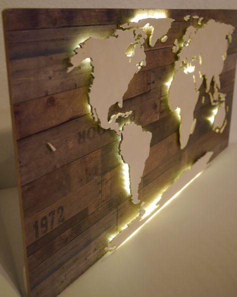 Beleuchtete 3D-Weltkarte aus Holz Vintage-Look von merkecht auf Etsy #caixasdemadeira