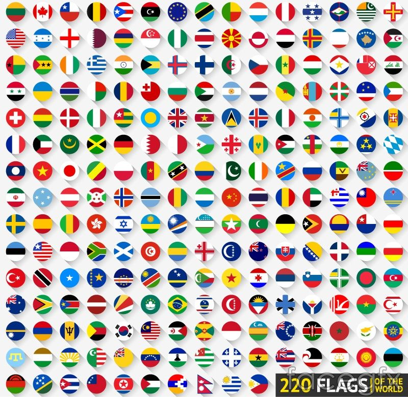 In 220 Countries And Territories Flag Icon Vector Flag Icon Flag Vector Vector