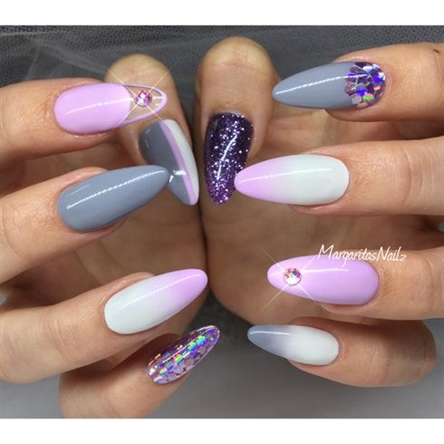 Grey And Lavender by MargaritasNailz from Nail Art Gallery - Grey And Lavender By MargaritasNailz From Nail Art Gallery Nail