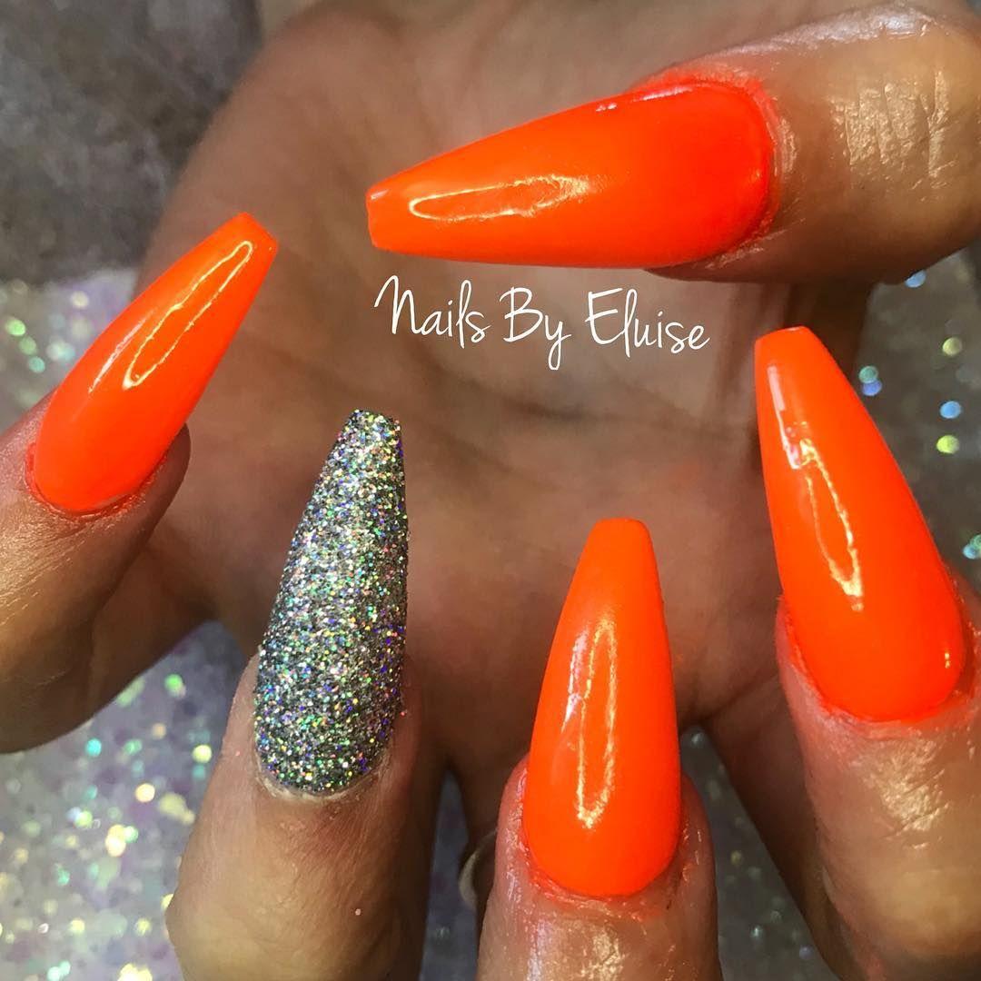 Nailsbyeluise Nails Acrylics Shellac Cnd Orange Neon Bright