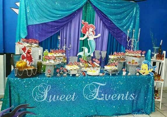 Little Mermaid Ariel Candy Table Birthday Candy Table Ariel Birthday Dessert Buffet Table