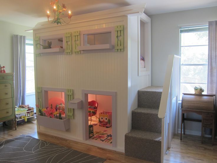 Great room for a little girl. No link & no possible clue where to look for this bed but it's adorable.