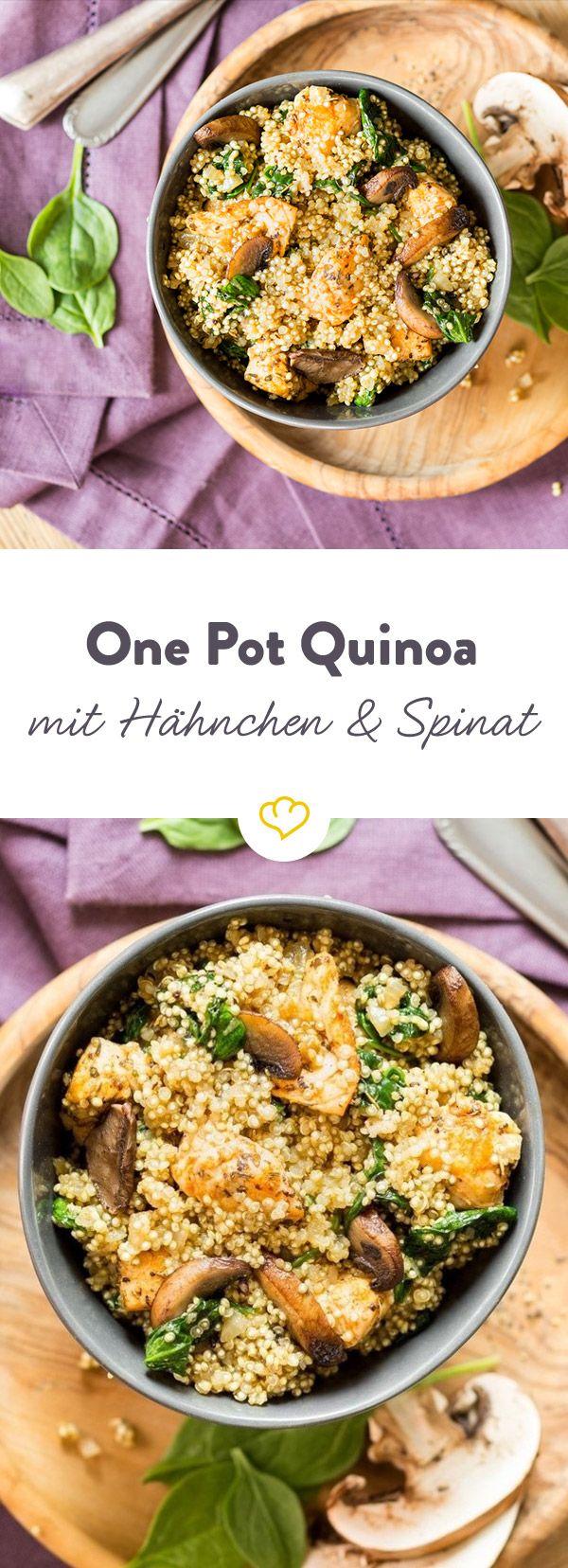 Starkes Superfood! One Pot Quinoa mit Hähnchen und Spinat #onepotpastarecettes