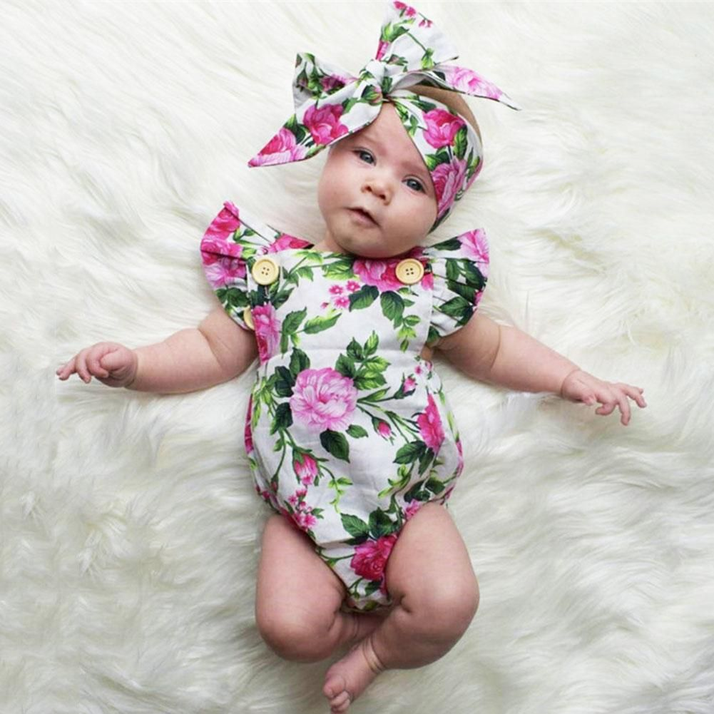 4cad9632f Two Pieces Set Floral Baby Girls Clothes Summer Short Sleeve Romper  Jumpsuit with Headband Outfit Sun suit for Girls