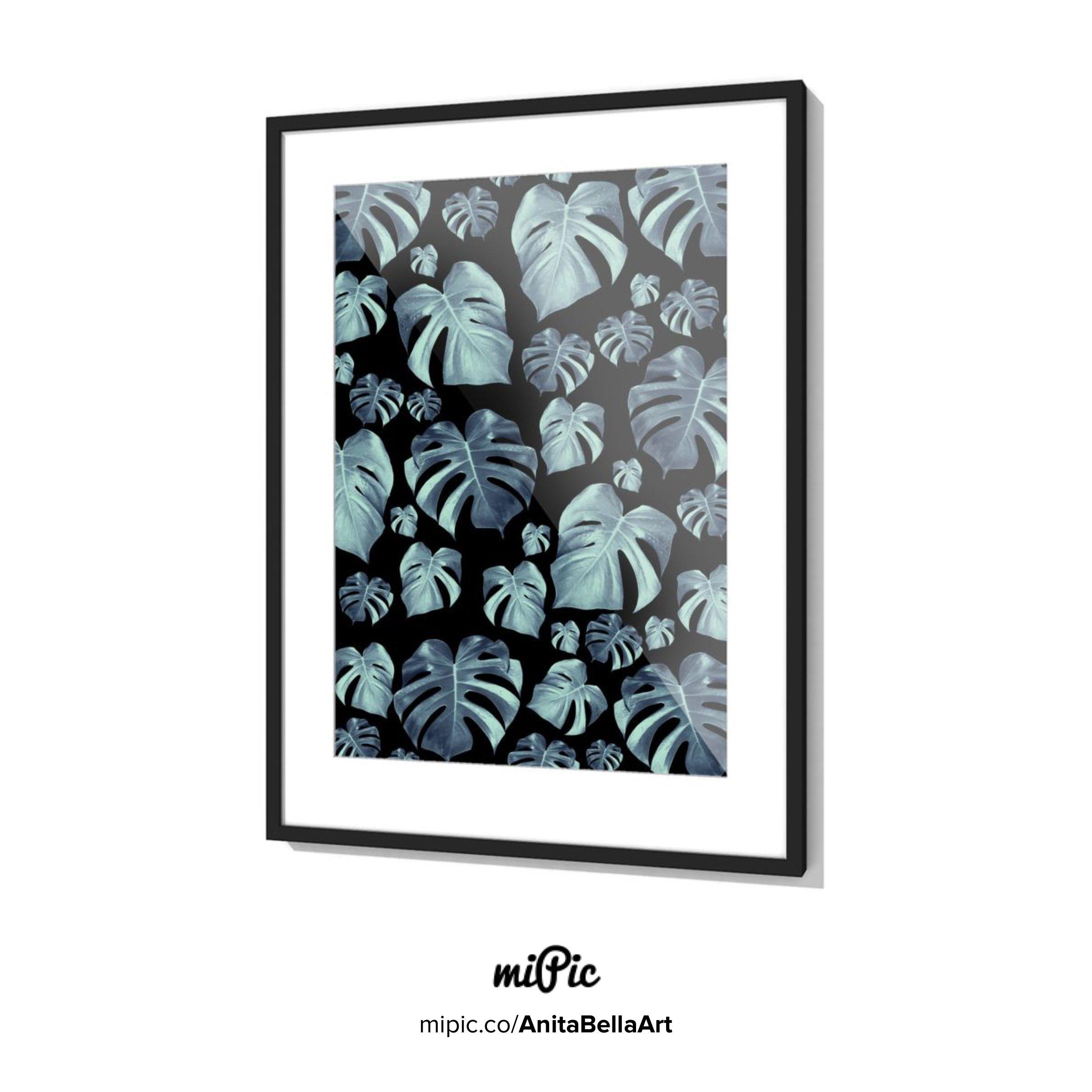 Tropical Monstera Pattern 5 Dark Light Mint Blue Foliage
