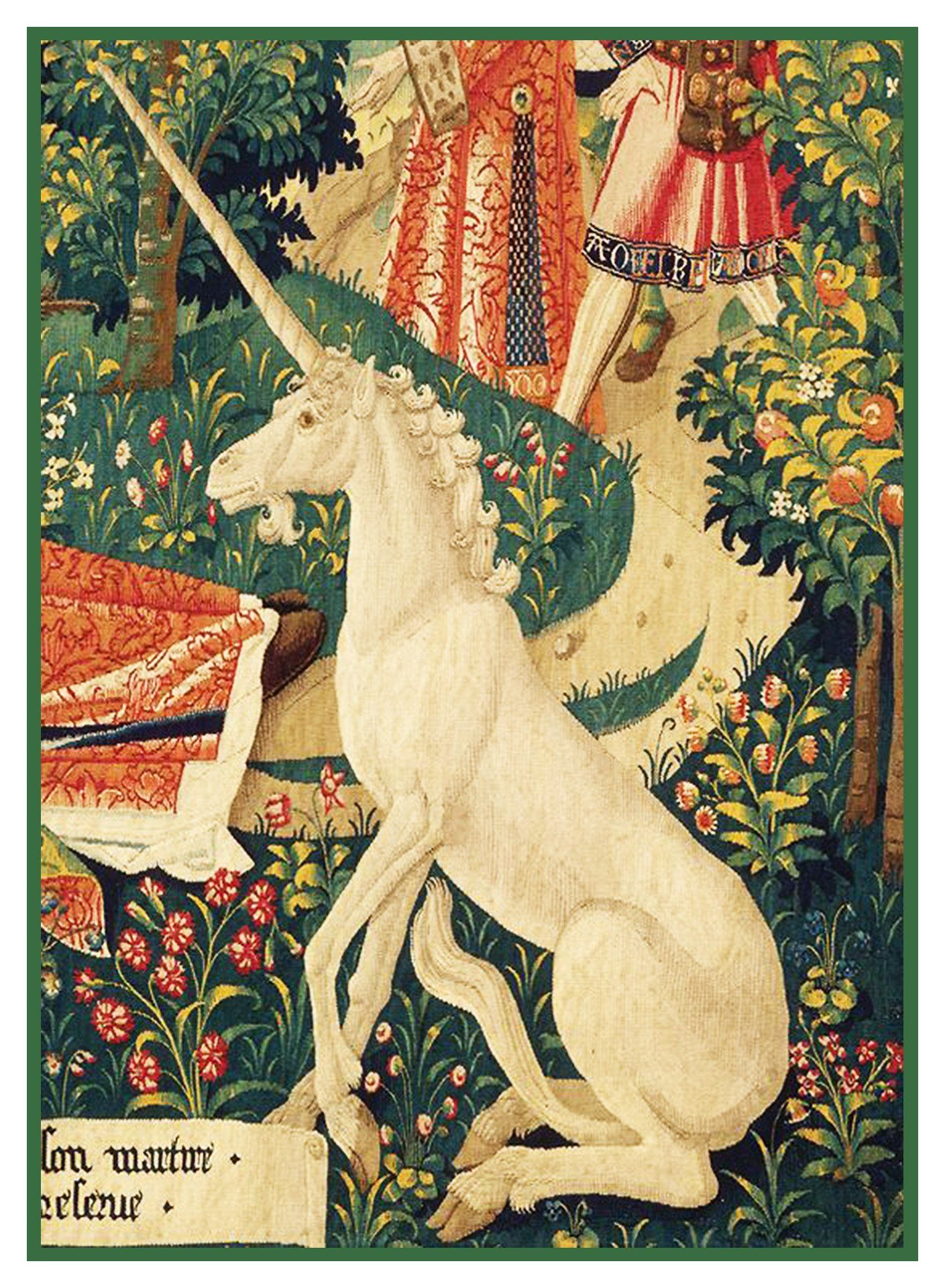 unicorn detail from st etienne medieval tapestry counted cross