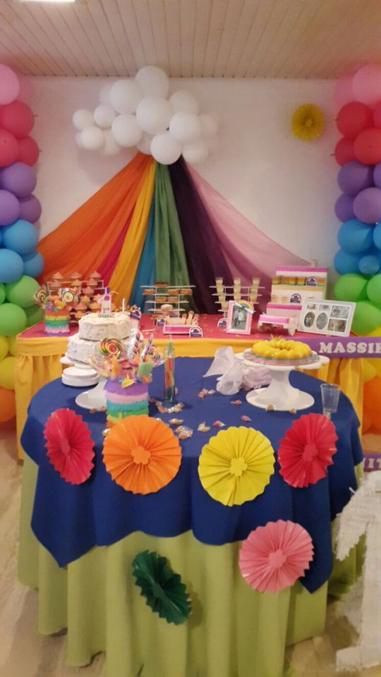 Decoracion Para Fiestas Infantil Tema Arco Iris Birthday Decor Birthday Cake