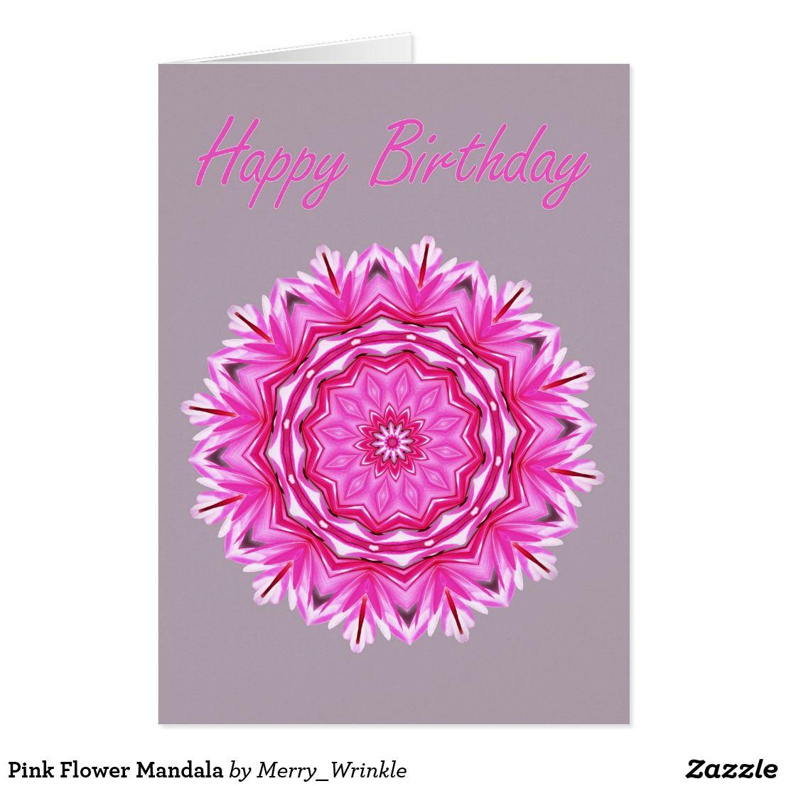 Pink flower mandala card flower mandala birthday celebrations and