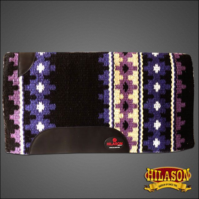 FE368-F HILASON WESTERN NEW ZEALAND WOOL HORSE SADDLE BLANKET BLACK BLUE in Sporting Goods , Outdoor Sports , Equestrian , Tack-Western , Saddle Pads , General Use  eBay