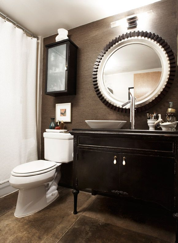 Fantastic Truly Masculine Bathroom Decor Ideas  Fantastic Truly Masculine Bathroom Decor Ideas With Dark Wall And Wooden Washbasin And Round Mirror