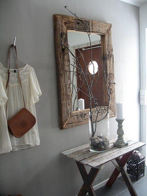 Marco de espejo fabricado con madera reutilizada!!