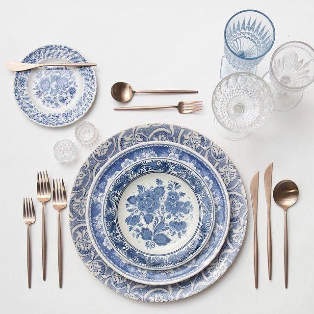 blue fleur de lis chargers + blue garden collection vintage china