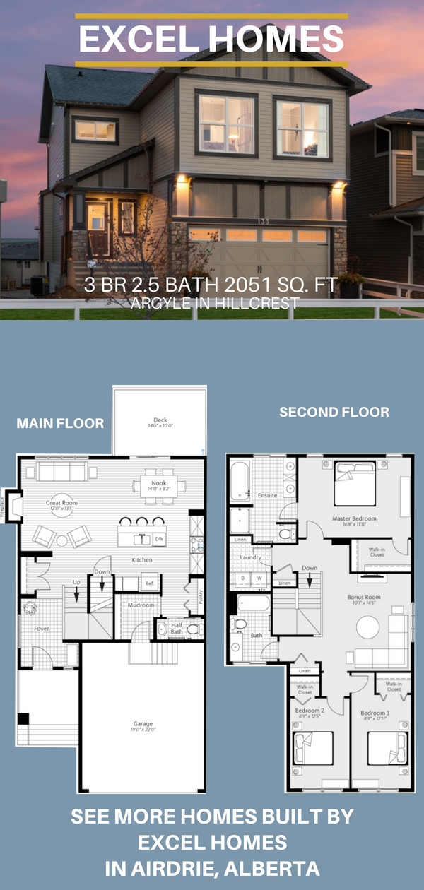 Argyle 2 Story Floor Plan 3 Bedroom 2 5 Bathroom 2 051 Sq Ft From Excel Homes Find More Show Homes T Dream House Plans House Floor Plans House Blueprints