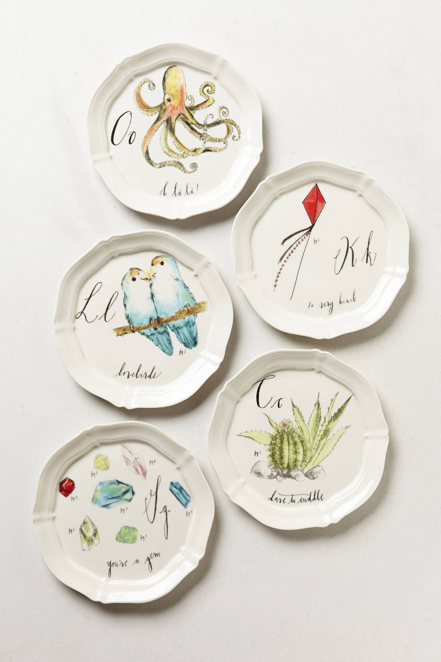 Calligrapher Monogram Canape Plate collection by Diva Pyari for Linea Carta via Anthropologie & Calligrapher Monogram Canape Plate | Canapes Apartment hacks and ...