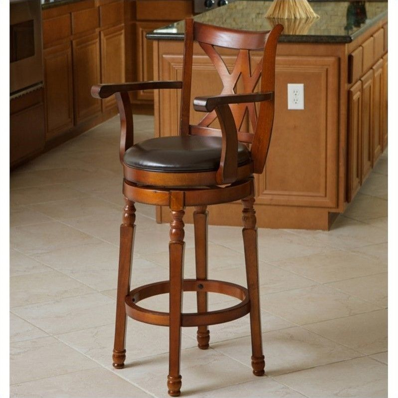 Noble House 29 Sunset Armed Bar Stool In Brown Swivel Bar Stools