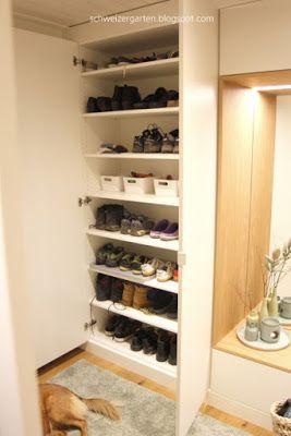 Aufräumen Vorher Nachher einbaumöbel garderobe modern weisse grifflose fronten tipon