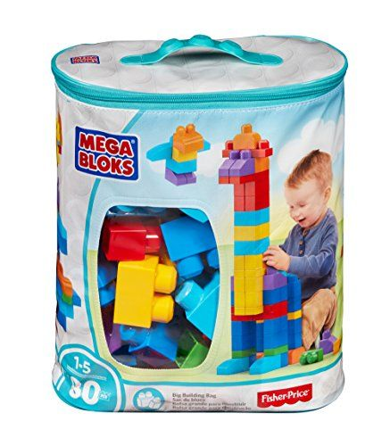 Mega Bloks 80 Piece Big Building Bag Classic Toys For 1 Year Old Toddler Toys Best Toddler Gifts