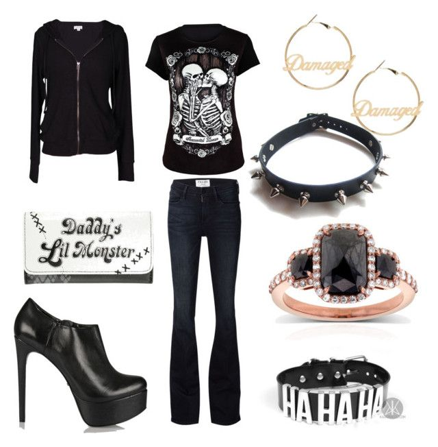 """""""Skull Rocker"""" by shadow-princess15 ❤ liked on Polyvore featuring Velvet by Graham & Spencer, WithChic, Schutz, Frame Denim and Kobelli"""