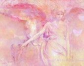 Romantic Angel Photo - Surreal Angel Art, Pink Angel Decor, Ethereal Art