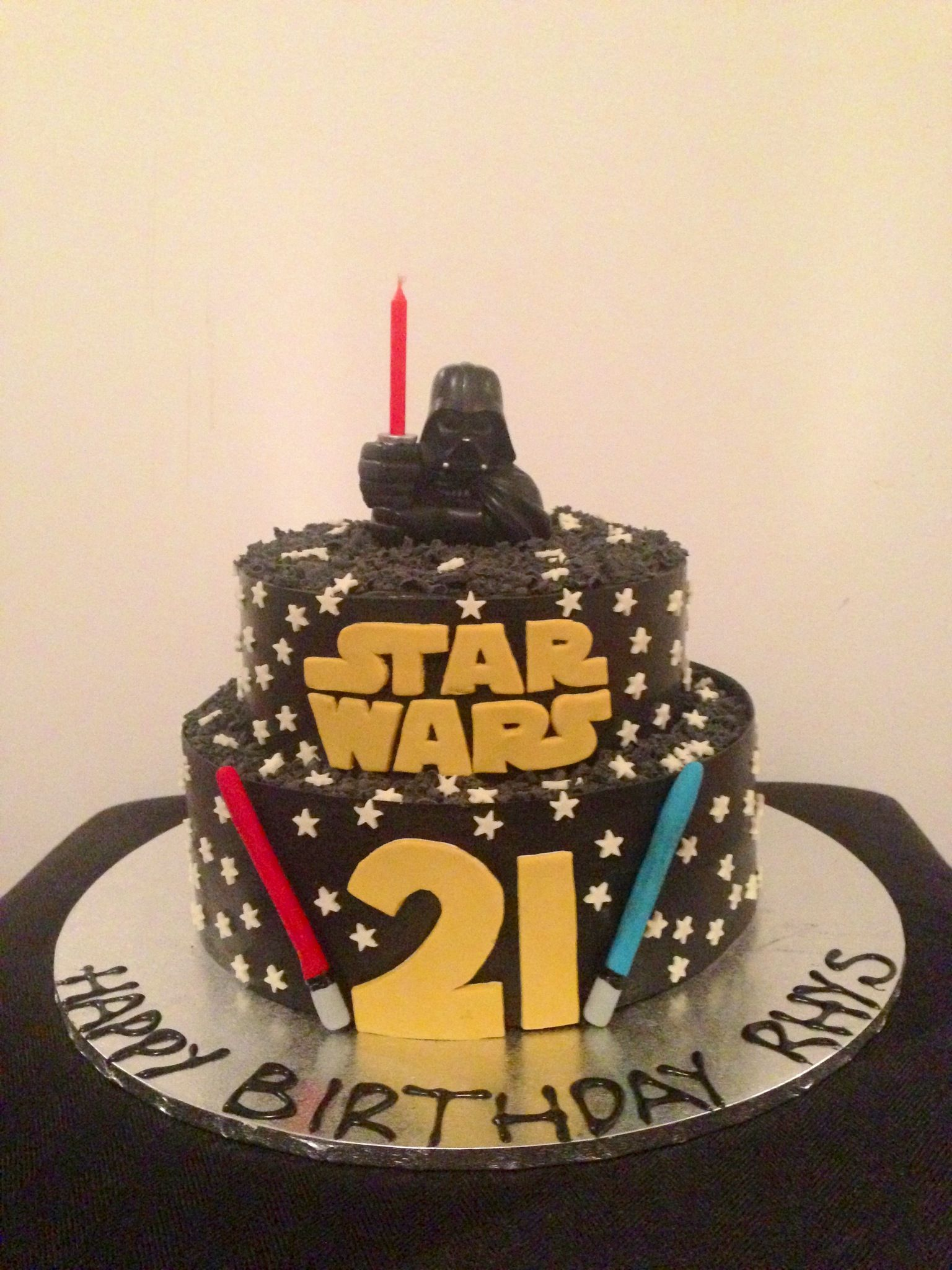 Star Wars Birthday Cake For A 21st Chocolate Collars Coloured Black