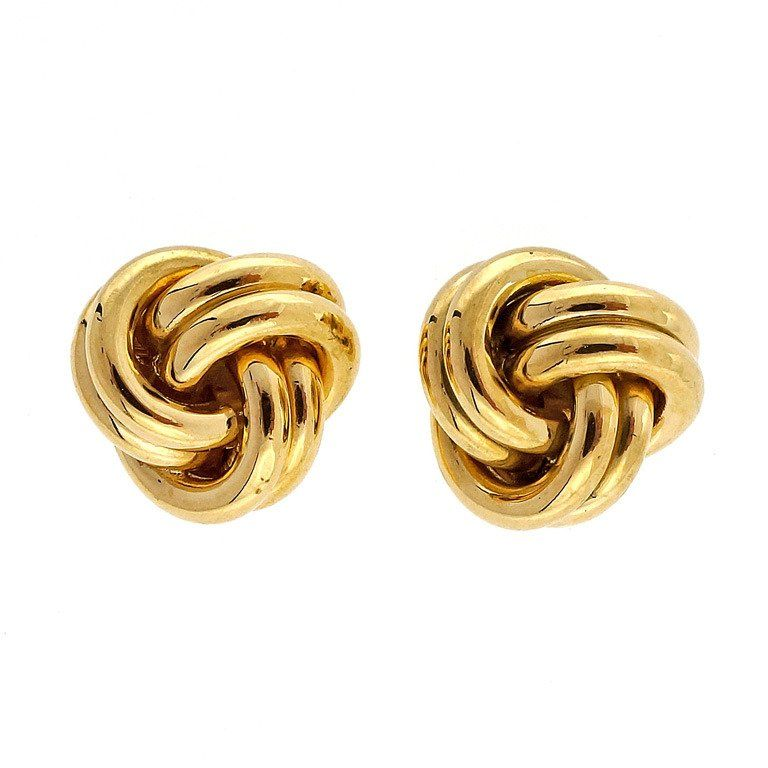 Tiffany Co Twist Knot Stud Yellow Gold Earrings For