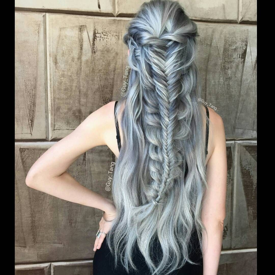 """Scorpion braid with some #MetallicObsession using new demi permanent @kenraprofessional silver coming soon. Do you like silver hair?"""