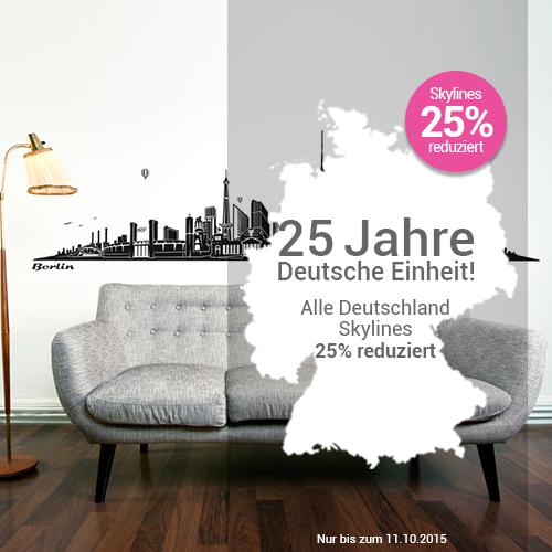 Wandkings feiert 25 Jahre Deutsche Einheit! 25% auf alle Deutschen Skylines im Online Shop mit dem Gutscheincode WK25-SKYLINE