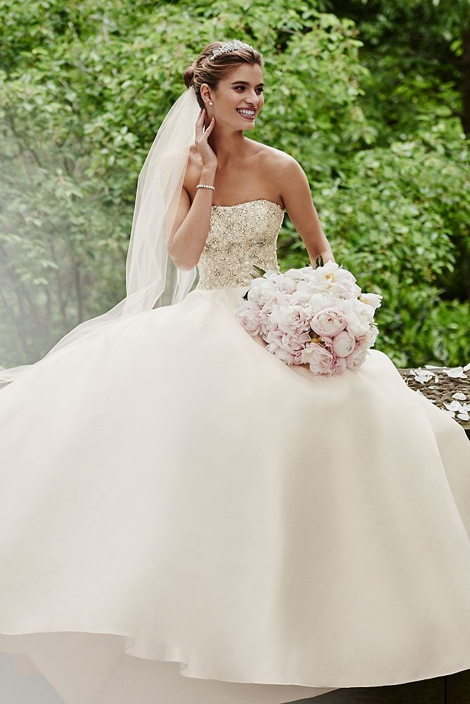 Crystal Encrusted Mikado Ball Gown Wedding Dress Ball Gowns